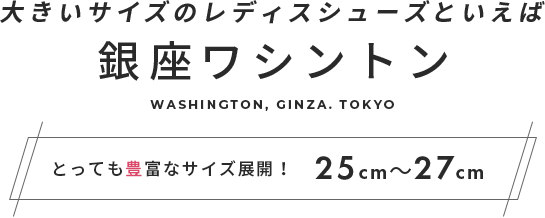 大きいサイズのレディスシューズといえば銀座ワシントン とっても豊富なサイズ展開!25cm~27cm